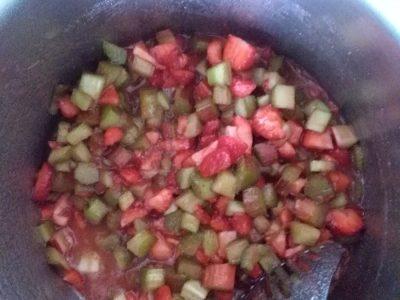Rababer/aardbeienconfituur maken